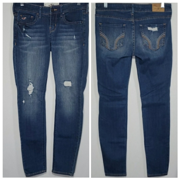 Hollister Super Skinny Distressed Whisker Jeans